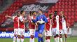 Slávističtí hráči po úspěšném zápase proti Nice, který vyhráli 4:1