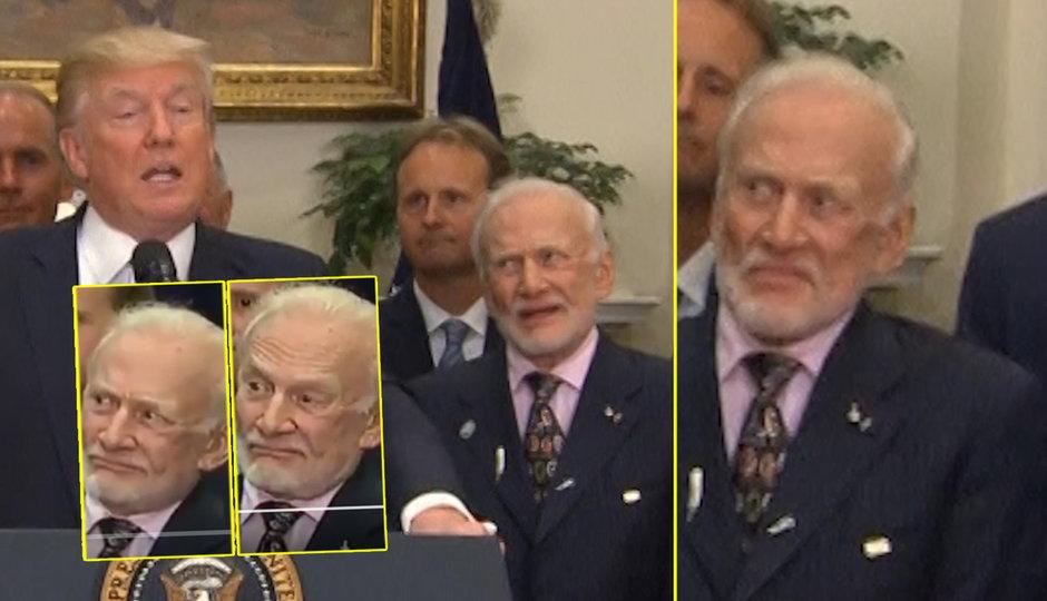 Trump mluvil a druhý muž na Měsíci se ošíval. Podívejte se na jeho grimasy