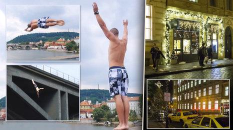 Kluci skáčou bez jištění z pražských mostů: Letí až 19 metrů! A centrum města už má Vánoce
