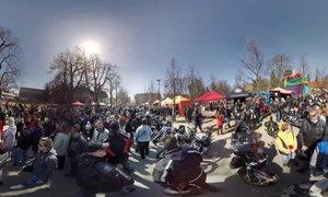 360° video: Harleye a silné mašiny na srazu v Poděbradech