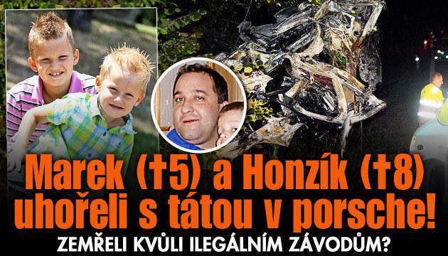 Synové s tátou uhořeli v luxusním porsche