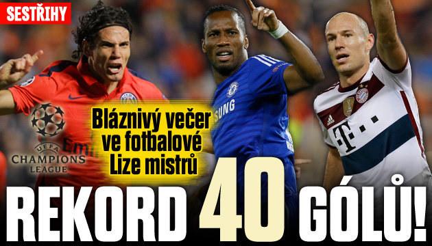 V Lize mistrů padlo rekordních 40 gólů