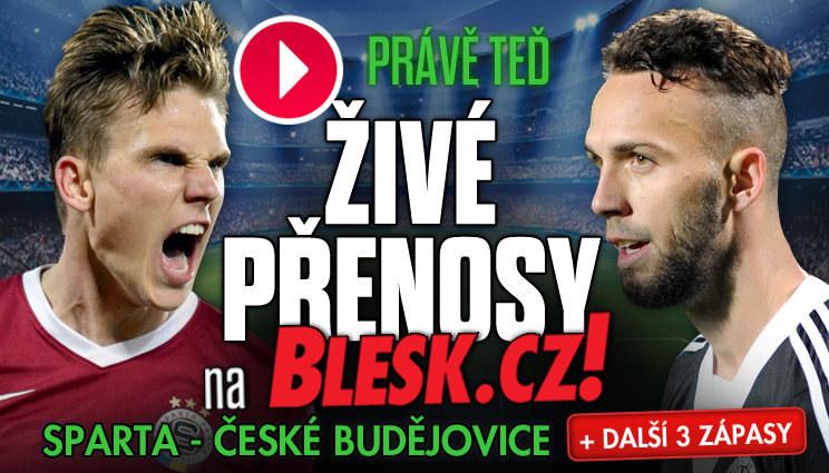 PŘÍMÉ PŘENOSY: Sparta-Budějovice + další 3 zápasy