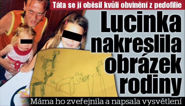 Lucinka namalovala nový obrázek rodiny