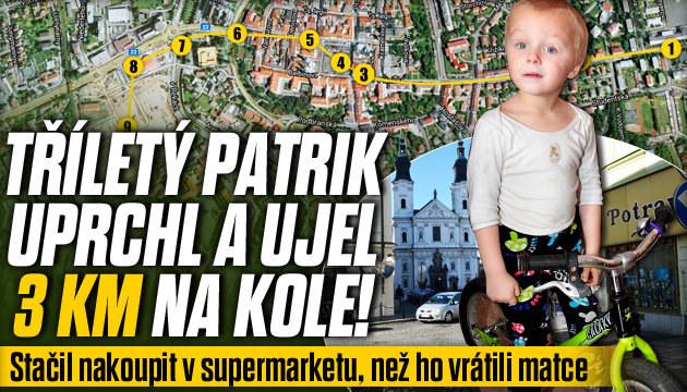 Tříletý Patrik uprchl a ujel 3 km na kole!