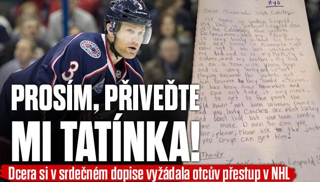 Holčička napsala dopis do klubu NHL, aby jí přivedli tátu