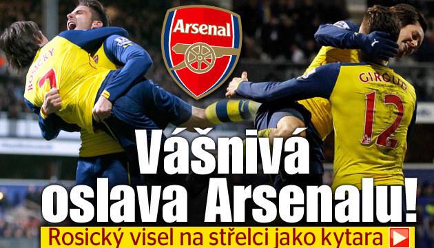 Rosického obrovská radost z gólu Arsenalu