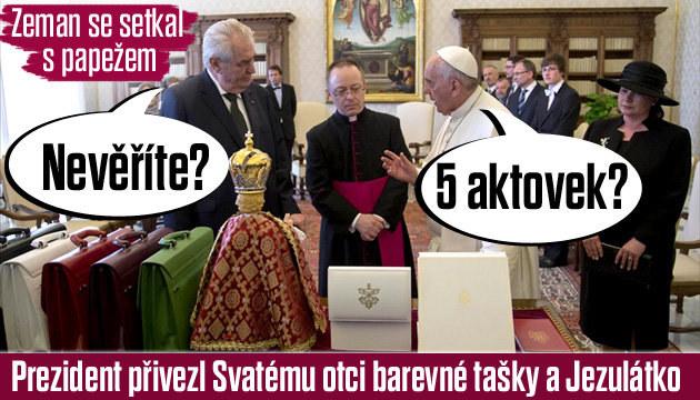 Papež přijal Zemana. Ten s sebou přivezl 5 barevných aktovek