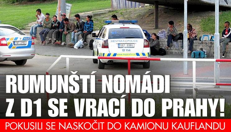 Rumuni na D1 zkoušeli skočit do kamionu