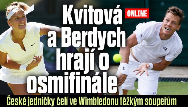 O osmifinále Wimbledonu hrají Berdych i Kvitová