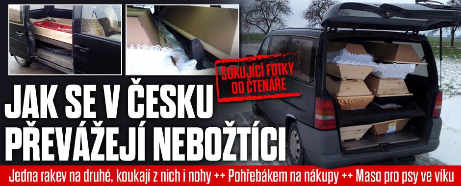 Šokující fotky: Jak se v Česku převážejí nebožtíci! Nohy koukající z rakve, maso pro psy ve víku