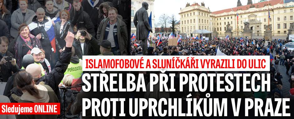 ONLINE Protesty proti uprchlíkům v Praze: Ozvala se i střelba a dělbuchy