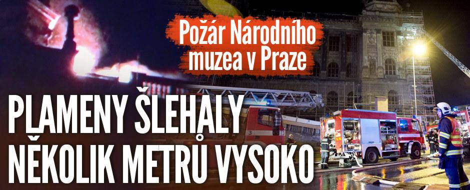 Požár Národního muzea v Praze: Plameny šlehaly několik metrů vysoko
