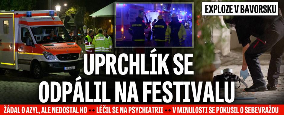 Exploze v Bavorsku: Uprchlík přišel s bombou na festival. Zranil desítku lidí