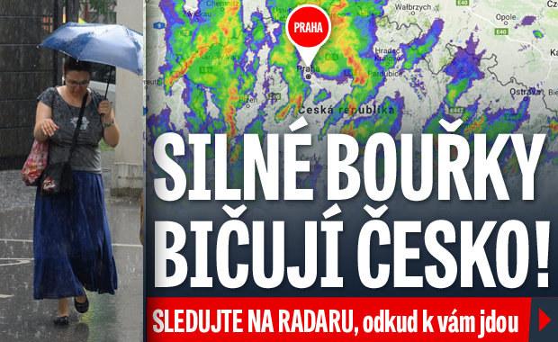 Silné bouřky bičují Česko. Sledujte radar, odkud k vám jdou