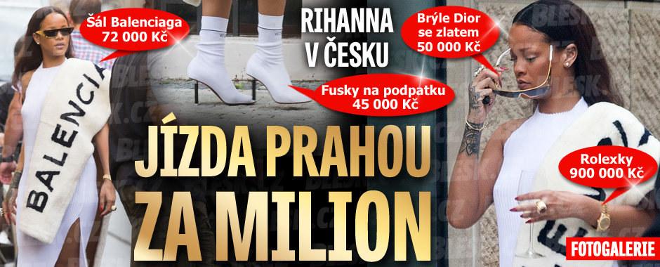 Rihanna jela Prahou oblečená za milion: »Fusky« na podpatku, šál z jehňátek, zlaté brýle i rolexky