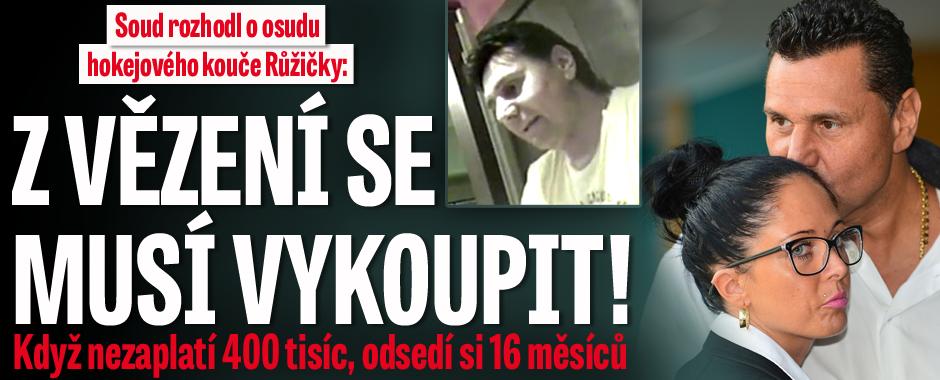 Soud rozhodl o osudu hokejového kouče Růžičky: Z vězení se musí vykoupit!