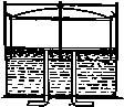 Vodní nádrž, plovoucí zvon, vstup plynu, vodicí klapky, výstup plynu