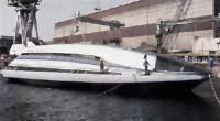 Celkový pohled na loď Yamato 1 magnetohydrodynamickým pohonem.