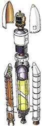 Průřez vícestupňovou raketou: proudnicový kryt, užitečný náklad, letová elektronika, motor druhého stupně, pouzdro na padák, roznětka, nádrž na kapalný vodík, nádrž na kapalný kyslík, válec s tuhým palivem, přídavný motor na tuhé palivo, raketový mot
