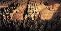 Jeden z největších objevů Dálného východu pochází z roku 1974. Jedná se o 8000 soch vojáků objevených nedaleko města Si-an. Byla to posmrtná armáda čínského císaře Čchin Šchuang-tiho vládnoucího v letech 221 - 206 př. n. l.