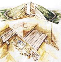 hliněná mohyla; kamenný prstenec mohyly; dřevěný strop hrobu; zesnulý; předměty, které doprovázely zesnulého na poslední cestě