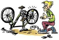 Nádobku připevněte mezi dráty kola a kolo roztočte
