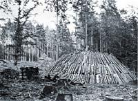 Pálení dřevěného uhlí v milířích