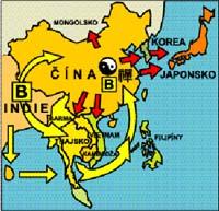 Šíření buddhismu a dalších náboženských směrů v asijských zemích