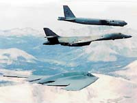 V současnosti používané bombardovací stroje amerického letectva: B-52 Stratofortress, B-1B Lancer, B-2 Spirit