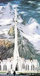 Bílá Ecthelionova věž v Minas Tirith, hlavním městě Gondorské říše