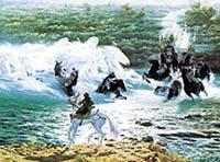 Frodo, pronásledován Černými jezdci, byl u Brodu zachráněn vlnami v podobě koní přičarovaných Gandalfem