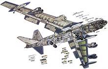 dvojice motorů Pratt&Whitney TF33; radar; pilotní prostor; sekce posádky; pylony k připevnění zbraní; pomocný podvozek; rotační pumovnice; podvozek; rotační kulomet ráže 20 mm