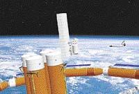Robot dopraví kontejner ke spojovacím průchodům hotelu - vesmírná dovolená může začít.