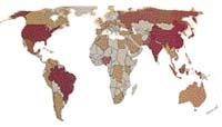 Nárůst městské populace mezi lety 1950-2000