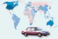 Prodané vozy Toyota Corolla v roce 1998