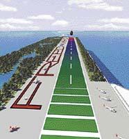 Přistání na největší letadlové lodi světa - v tomto návrhu zabírá část horní paluby rozsáhlý park