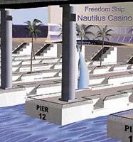 V zadní části Freedomu bude dok pro 250 plavidel, zde budou kotvit zásobovací lodě i jachty obyvatel a návštěvníků