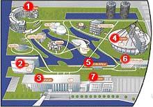 Orientační plánek automobilového centra ve Wolfsburgu