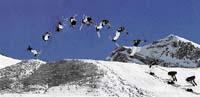 Salto se Jirka naučil nevšedním způsobem. Nejdřív totiž skákal do závěje. Jednou, dvakrát, desetkrát. Potom vzal lyže, rozjel se z kopce a zkusil salto. Poprvé se mu to nepovedlo, zato dneska už dělá salta vpřed i vzad a dokonce do strany