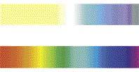 Barevné spektrum, které vidí pes (nahoře) a člověk (dole)