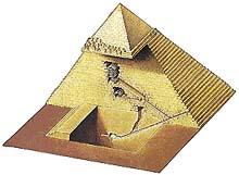 pyramidion - vrchol pyramidy; faraonova komora; velká galerie; královnina komora; otesaný skalní výběžek;  větrací šachta; podzemní komora; sestupná chodba