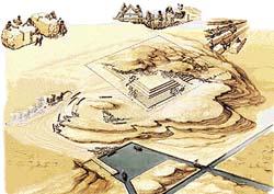 základ pyramidy vytesaný ve skále; dobývání kamene v lomu; kamenolom; přístav - vykládání kamenných bloků z lodi; umělé vodní kanály