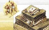 kolébka pro usazení kvádrů u vrcholu; pyramidion; konečná úprava povrchu pyramidy
