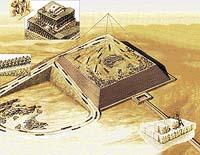 královnina komora ve výstavbě; dopravní rampa; kamenolom pod pyramidou; dělníci usazující kamenné kvádry