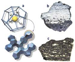 a - krystal ledu; molekula metanu;  c - bubliny