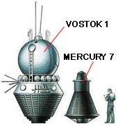 Srovnání velikosti kabiny Vostok 1 a Mercury 7  (Vostok 1 - průměr 230 cm, váha 2,4 tuny)