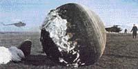 Nejnebezpečnější částí Gagarinova letu bylo přistání na Zemi. Přistál na poli u vesnice Smelovka v Saratovské oblasti, jen kousek od prudkého srázu do řeky Volhy