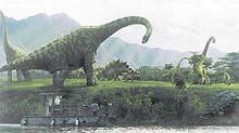 Záběr z filmu Jurský park III. Výsledek počítačové animace působí velmi věrohodně - lidé se skutečně pohybují v krajině plné dinosaurů