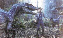 Do scény natočené v přírodě s živými herci se pomocí počítače postupně zakomponují modely dinosaurů
